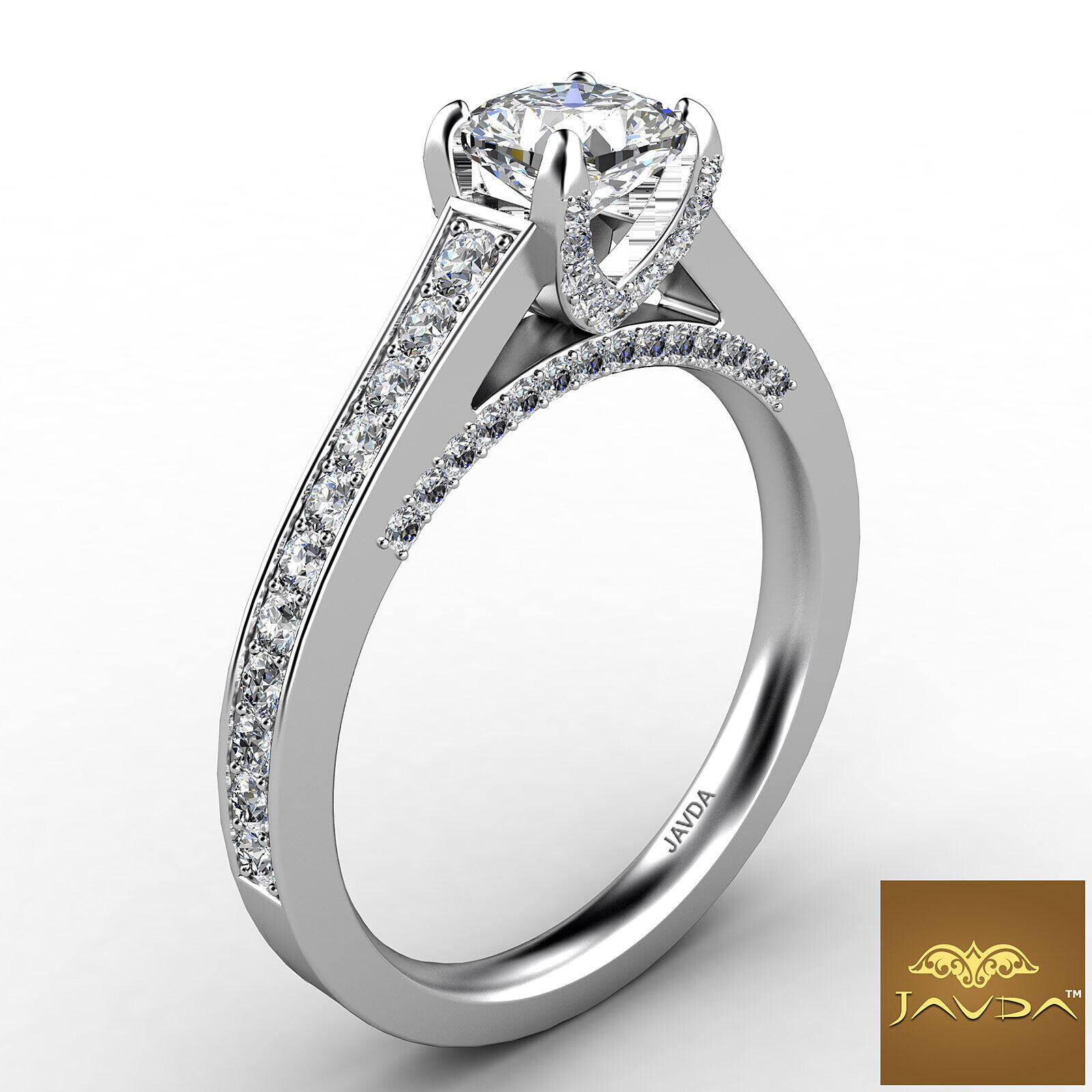 Cushion Cut Diamond Flawless Engagement GIA G VVS2 Pave Set Ring Platinum 1.25Ct 2