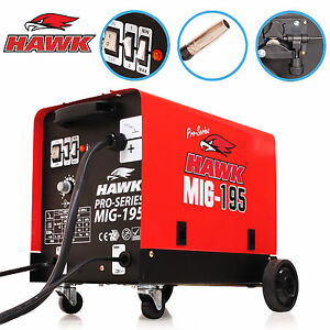 HAWK 195 GAS & NO GASLESS FLUX SOLID WIRE FEED MIG WELD WELDER WELDING MACHINE
