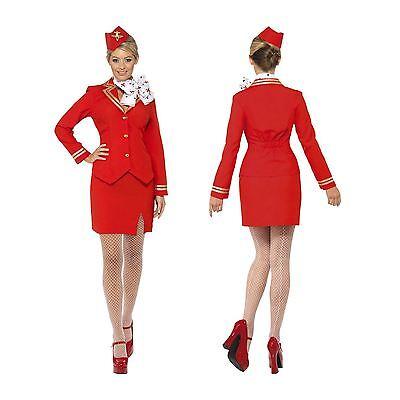 Ladies Air Hostess Plane Cabin Crew Stewardess Uniform Fancy Dress Hen Costume - Airplane Fancy Dress