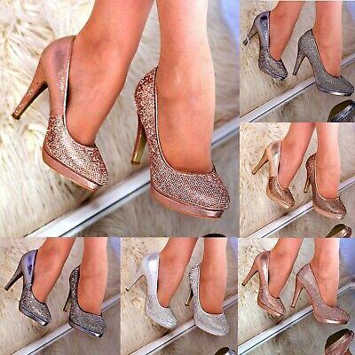 Ladies High Heel Platform Shoes Rhinestone crystal Sparkly Party Wedding size Rhinestone Platform Shoe