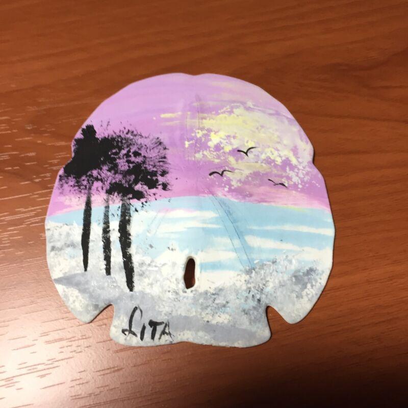 Hand Painted Florida Beach Scene Large Sand Dollar