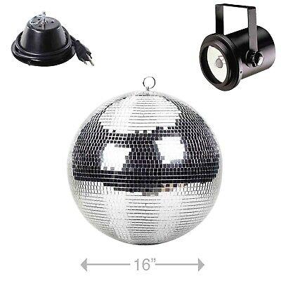 "ProX MB-16 16"" Club Party Glass Mirror Disco Ball w Motor Mount & Pinspot Light"