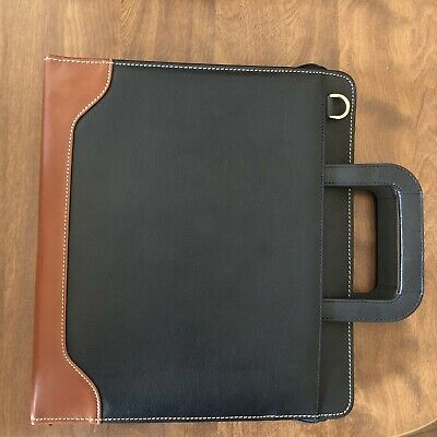Franklin Covey Quest 7 Ring Planner Black Wbrown Trim Leather Gently Used Large