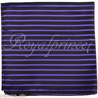 100% New Men's Pocket Square Handkerchief Hankie Only black Purple Stripes