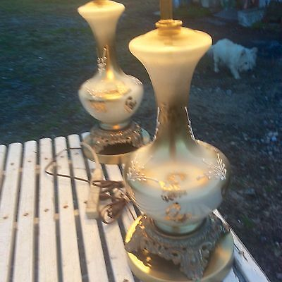 MIDCENTURY ITALIAN MODERN HOLLYWOOD REGENCY GOLD & WHITE DECORATIVE GLASS LAMPS