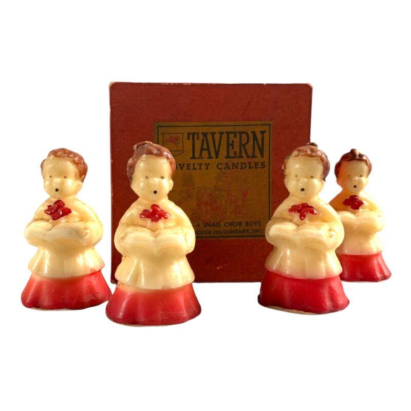 Vintage Tavern Candles SM Choir Boys Set Of 4 In Box #791 Christmas Novelty
