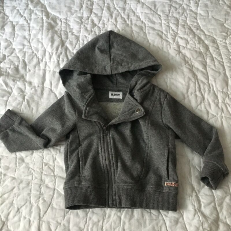 Hudson Baby Boy Toddler Heathered Gray Full Zip Hoodie Size 18 Months