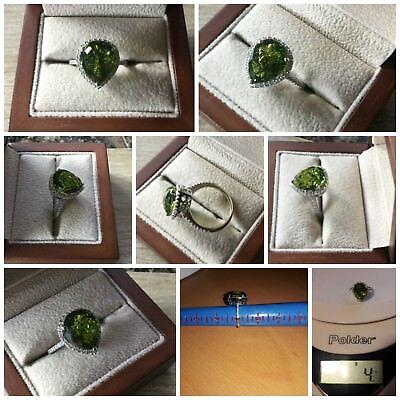 14K White Gold 6.86ctw Peridot & Diamond Halo Ring