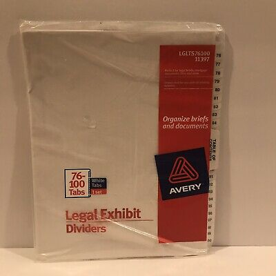 Avery Legal Exhibit Dividers 76-100 Tabs White 11397 - Lot Of Four 4 Pkgs