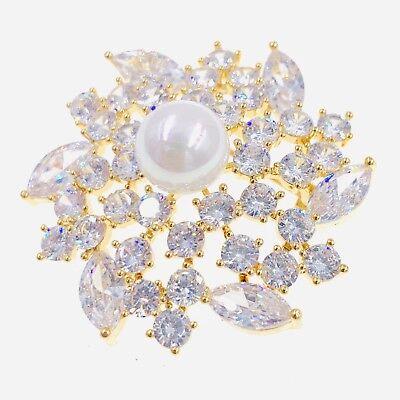 PEARL BROOCH PIN use Swarovski Crystal Gemstone Unique Wedding Bridal GOLD #05