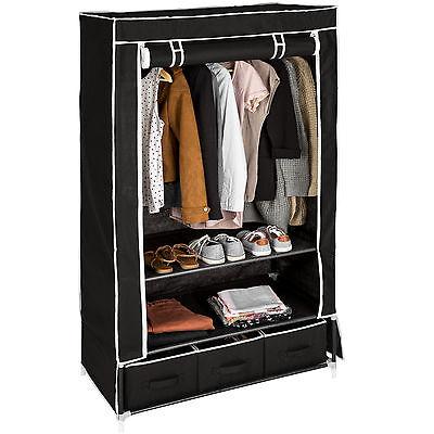 Armario de tela ropa ropero organizador guardarropa plegable 3 compartimentos