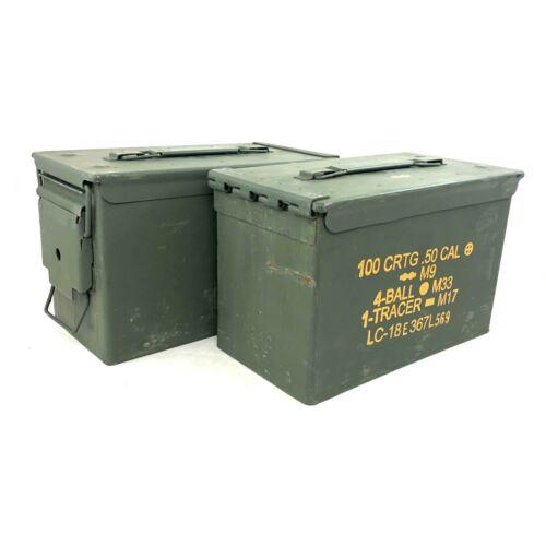 2 USGI .50 Cal Ammo Can, US Military 100 Round Metal Ammunition Box Case