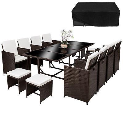 Sitzmöbel Lounge-stuhl (Poly Rattan Sitzgarnitur Lounge 8x Stuhl Tisch Gartenmöbel Garnitur Antik B-Ware)