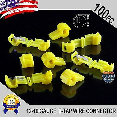 100 Pack T-taps Yellow 12-10 Awg Gauge Quick Slide Connectors Car Audio Alarm Ul