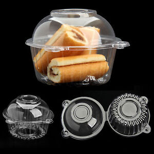 100PCS Clear Puff Pastry Box Cake Plastic Box Snack Pack Container Cupcake Case