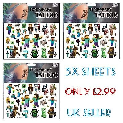 3x Boys Temporary tattoo Sheets Kids Fun Party bag fillers Loot bags Xbox Games  - Xbox Party Supplies