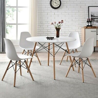 Round Mid-Century Modern Dining Set - Table & 4 Chairs Farmhouse Dining Kitchen