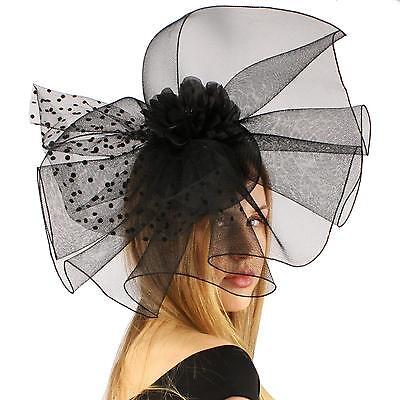Big Fancy Fishnet Floral Derby Wedding Headband Party Fascinator Millinery Black