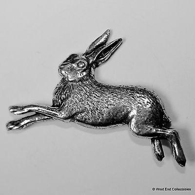 Running Hare Pewter Brooch Pin - British Artisan Signed Badge- Jackrabbit, Bunny