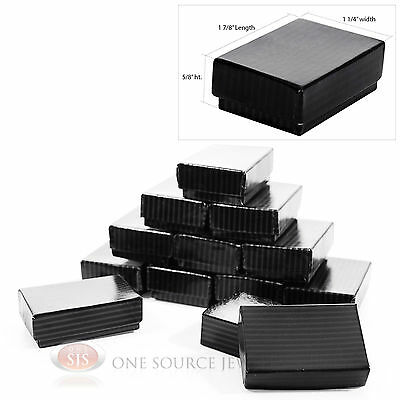 12 Black Pinstripe Cotton Filled Jewelry Gift Boxes 1 78 X 1 14 X 58