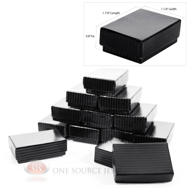 """12 Black Pinstripe Cotton Filled Jewelry Gift Boxes 1 7/8"""" x 1 1/4"""" x 5/8"""""""