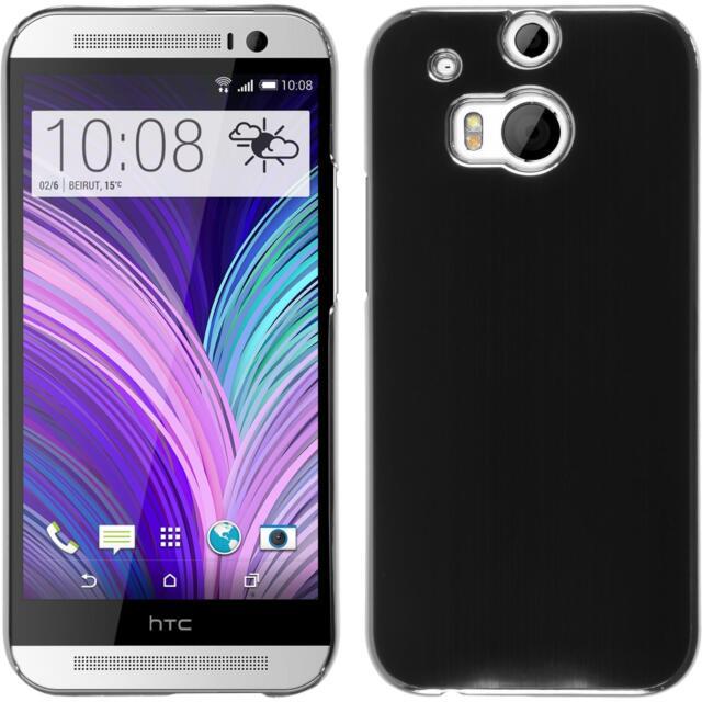 Hardcase HTC One M8 metallic black Cover + protective foils