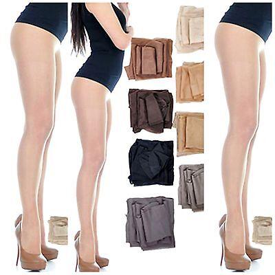 Damen dünne Strumpfhose mit Lycra halbmatt durchsichtig 8 Farben 15-20 den  S-XL