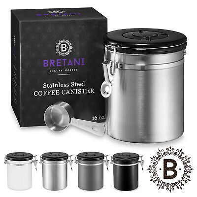 16oz Stainless Steel Coffee Canister Scoop Set - Storing Grounds Beans Container