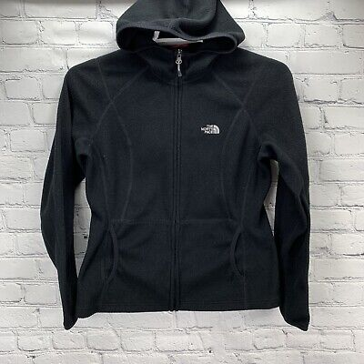 The North Face Woman's Black Hood Full Zip Fleece Jacket Size Medium Pockets