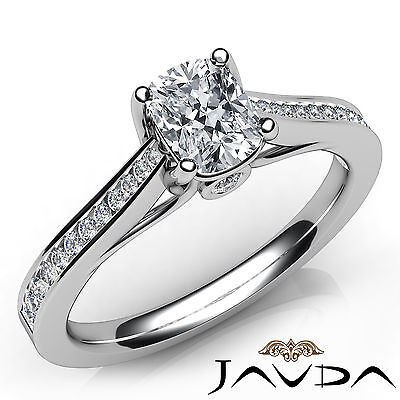 Cushion Cut Diamond Channel Set Engagement Ring GIA E VVS2 18k White Gold 0.91Ct