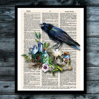 Alchemy Raven Vintage Dictionary Art Print Halloween Skull Noir Witch Wall Decor - Chemistry Halloween Decorations