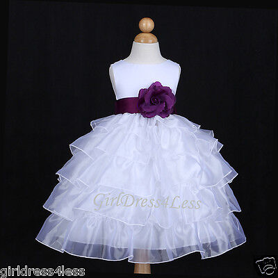 WHITE/PLUM DARK PURPLE ORGANZA WEDDING FLOWER GIRL DRESS 12M 18M 24M 2 4 6 8 10