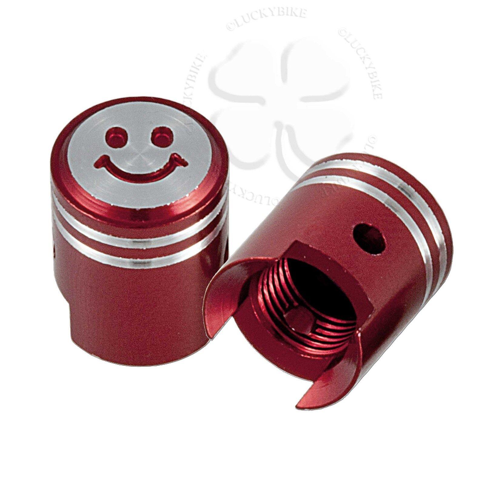 2x Red Cnc Tire Valve Stem Smiley Dust Caps Pistons Gsxr