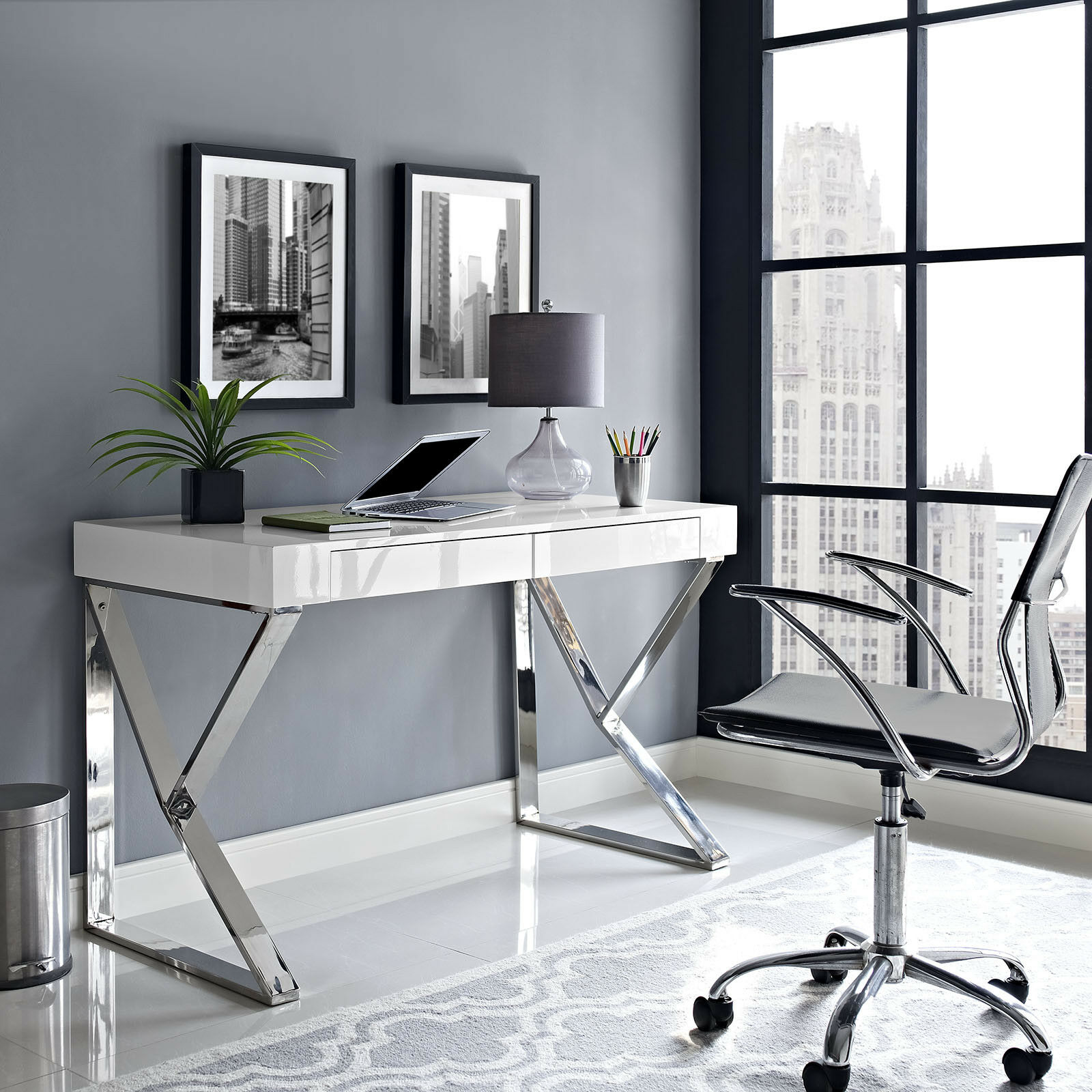 Details About Contemporary Modern Home Office Computer Desk With Metallic Legs In White