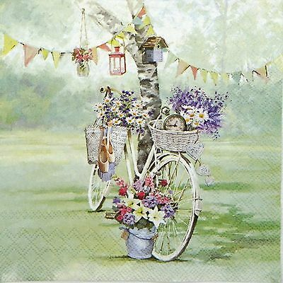 4 Single Table Party Paper Napkins for Decoupage Decopatch Craft Bike & Flower