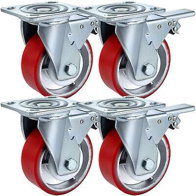 5 X 2 Polyurethane Swivel Caster With Dual Locking Brake