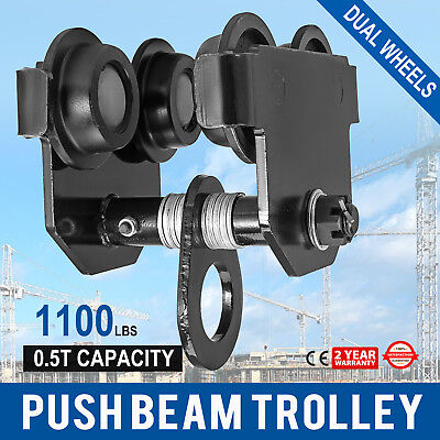 0.5 Ton Push Beam Track Roller Trolley I-beam Track Dual Wheels Heavy Loads