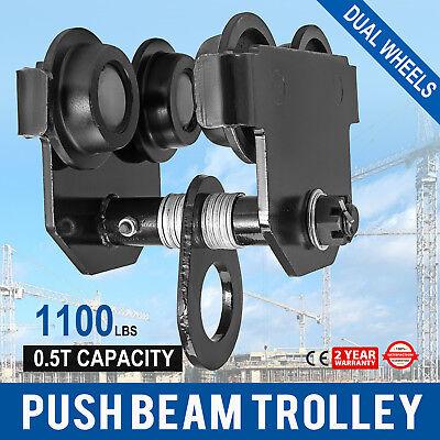 0.5 Ton Push Beam Track Roller Trolley I-beam Track Dual Wheels Heavy Loads
