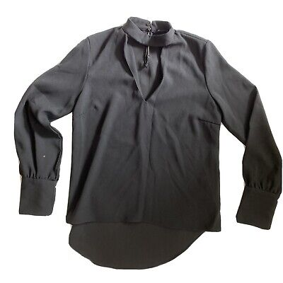 ZARA Woman Size Small Black Button Down Top Shirt With Small White Polkadot
