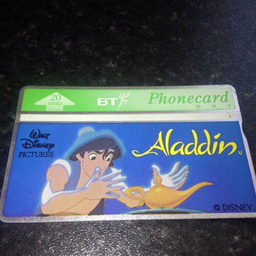 BRITISH TELECOM PHONECARD BT PHONE CARD Rare ALADDIN FILM DISNEY 20 Units