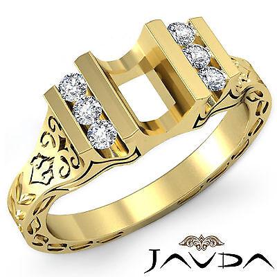 Emerald Semi Mount Ring - Round Diamond Fashion Engagement Ring Emerald Semi Mount 14k Yellow Gold 0.2Ct
