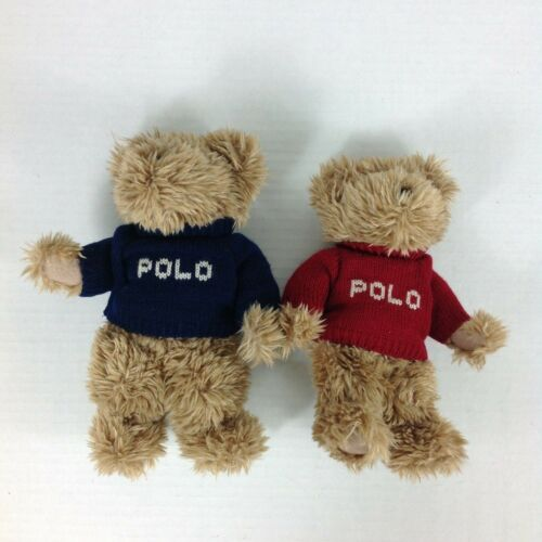 Ralph Lauren The Polo Bears That Care Plush Bear Red Blue Sweaters Lot Of 2