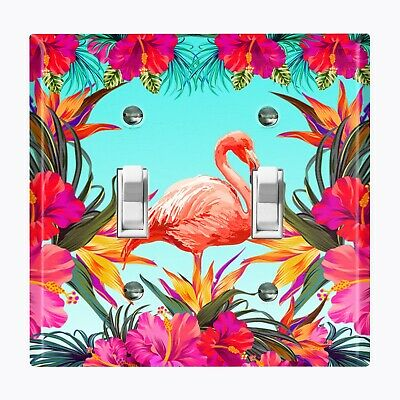 Flamingo Switchplate - Metal Light Switch Cover Wall Plate Home Decor FLAMINGO FLOWER