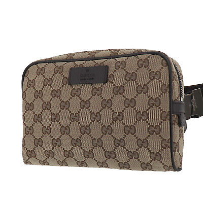GUCCI Original GG Canvas Fanny Pack Brown Canvas Italy Vintage Authentic #AC202
