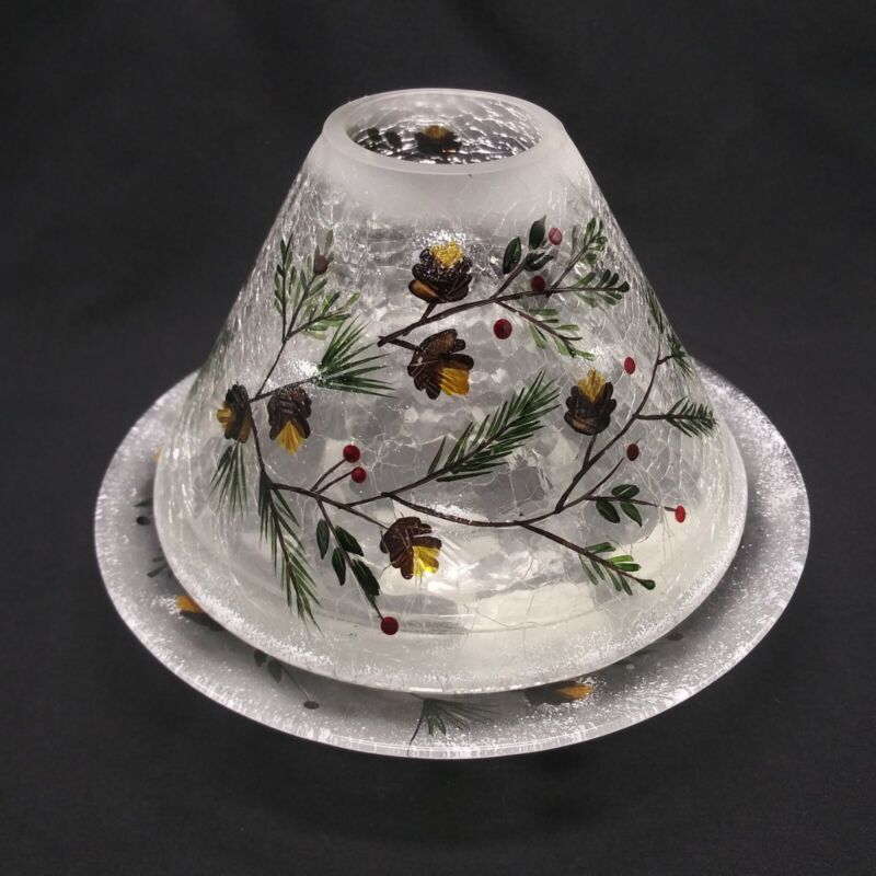 Yankee Candle Pinecone Holly Glass Jar Shade Crackle Frosted Christmas Holiday