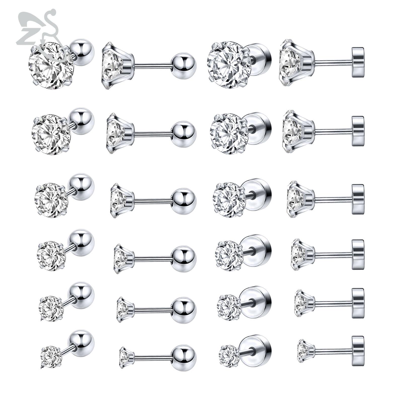 6 Pairs Stainless Steel Stud Earrings CZ Crystal Helix Carti