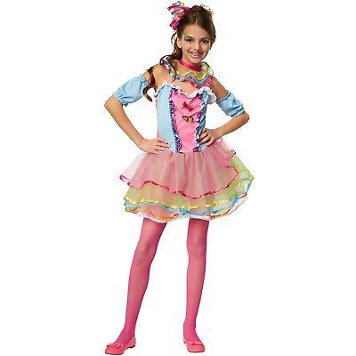 Regenbogen Kostüm (Mädchenkostüm Regenbogen Girl Candy Zuckerwatte Bonbonkleid Karneval Fasching )