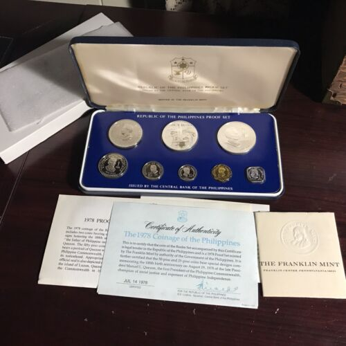PHILIPPINES 1978  8-COIN PROOF SET WITH CASE, CERTIFICATE & LITERATURE COMPLETE