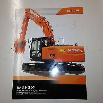 Hitachi Zaxis 240lc-3 Hydraulic Excavator Sales Brochure Specifications.