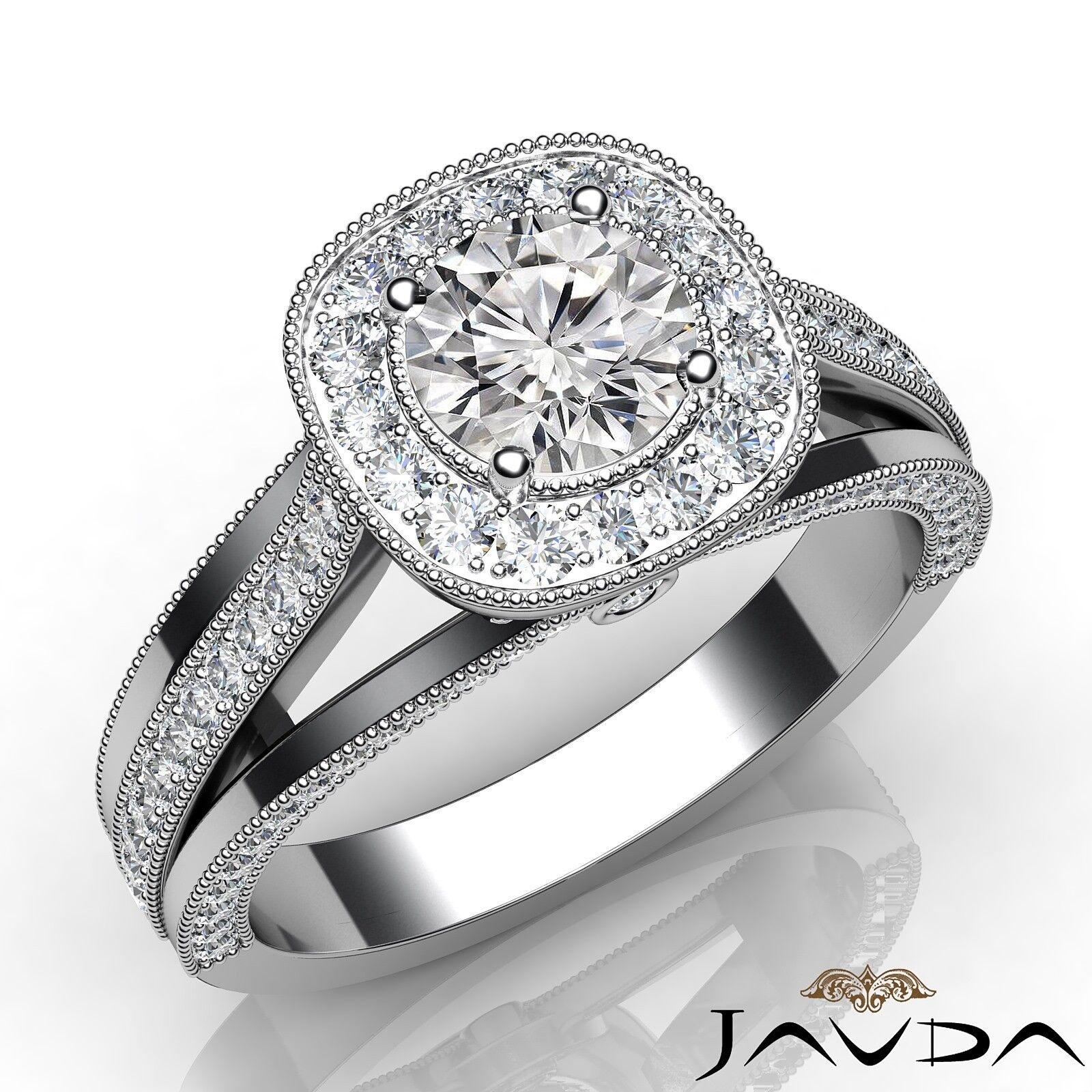 1.3ctw Gala Halo Pave Round Diamond Engagement Ring GIA E-VS2 White Gold Rings